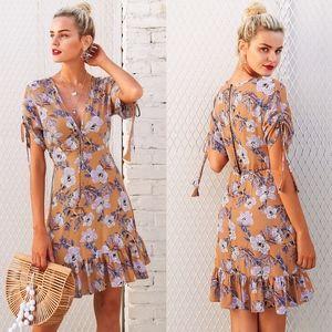LALA Floral Print Ruffle Hem Dress